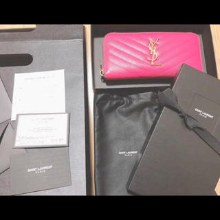 Saint Laurent - サンローラン  ラウンドファスナー ジップ モノグラム ピンク 長財布 正規品