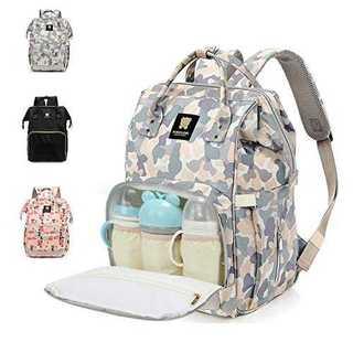 グレーマザーズバッグ リュック 防水 大容量 ママバッグ 保温ポケット付き 多機(マザーズバッグ)
