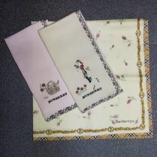 BURBERRY - (USED) BURBERRY① ハンカチ 3枚セット 刺繍 女の子