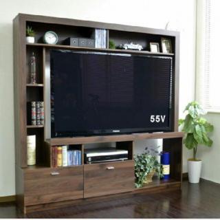 テレビ台 ハイタイプ 壁面家具 リビング壁面収納 55インチ対応 テレビラック (リビング収納)