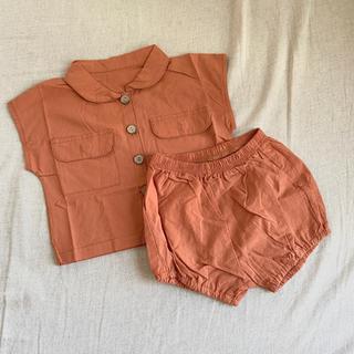 【新品/タグ付き】70サイズ オレンジシャツ セットアップ ベビー服