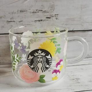 スターバックスコーヒー(Starbucks Coffee)の新品スターバックス グラスマグフローラル (グラス/カップ)
