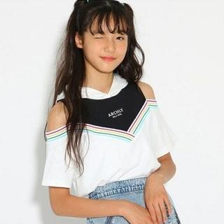 ピンクラテ(PINK-latte)の【新品】PINK-latte☆ピンクラテ 肩あきレイヤードパーカーTシャツ160(Tシャツ/カットソー)