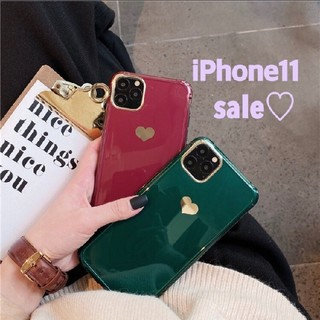Phone11★シンプル★ハート柄 可愛い 携帯ケース 赤 スマホケース 人気