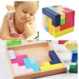 木製知育玩具 形合わせ パズル 立体 テトリス