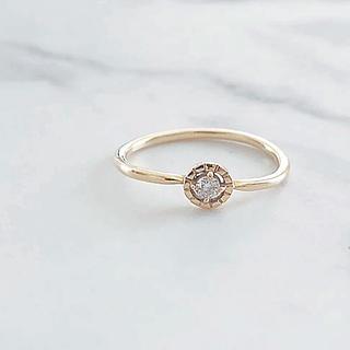 イエナ(IENA)の美品 K10 ダイヤモンド ウェーブデザインリング(リング(指輪))