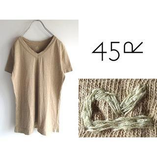 フォーティーファイブアールピーエム(45rpm)の45R ジンバブエコットン R刺繍 Vネック45星Tシャツ 2 日本製(Tシャツ(半袖/袖なし))