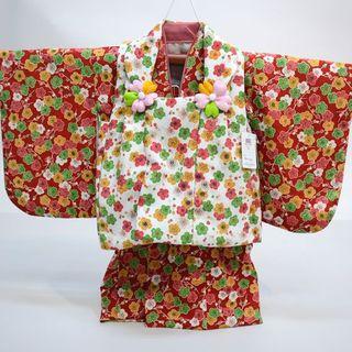 一つ身 二部式被布セット 日本製 ベビー 女児用 ちりめん風合い NO28989(和服/着物)