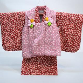 一つ身 二部式被布セット 日本製 ベビー 女児用 ちりめん風合い NO28993(和服/着物)