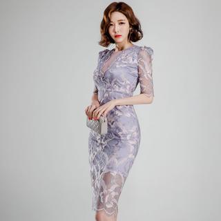 GRACE CONTINENTAL - 新品 インポート タイトワンピース 刺繍 シースルー パーティードレス M