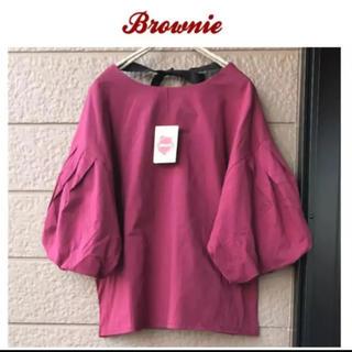 ブラウニー(Brownie)の新品♡brownie♡バルーンスリーブBackリボンプルオーバー(カットソー(半袖/袖なし))
