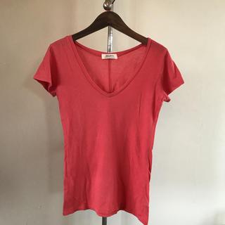 アズールバイマウジー(AZUL by moussy)の【美品】アズールバイマウジー VネックTシャツ サイズS オレンジ(Tシャツ(半袖/袖なし))