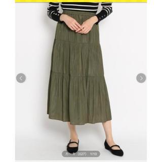エージーバイアクアガール(AG by aquagirl)の美品! AG バイ アクアガール パウダリーサテンティアードスカート(ロングスカート)