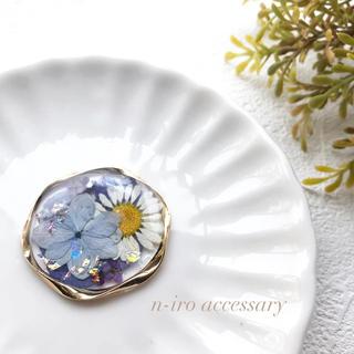 紫陽花とノースポールのポニーフック*ヘアゴム(ヘアアクセサリー)