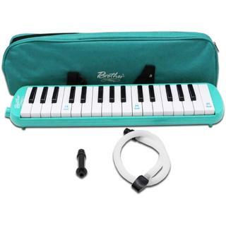 鍵盤ハーモニカ 32鍵 パイプ ホース付 持ち運び用収納袋付 (グリーン)(キーボード/シンセサイザー)