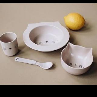 ストッケ(Stokke)の【Liewood】☺︎ネコちゃん離乳食食器セット♡rose(離乳食器セット)