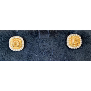 JEWELRY TSUTSUMI - ノーブランド★新品★k18ホワイトゴールド 天然イエローダイヤモンドピアス