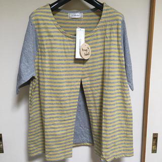 ゴールデンベア(Golden Bear)のGolden Bear  グレー X イエロー 重ね着風 半袖シャツ(シャツ/ブラウス(長袖/七分))