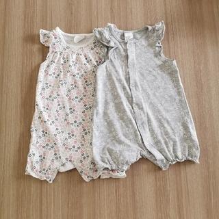 H&M - 【中古】H&M 女の子 袖なし ロンパース 70 2枚セット