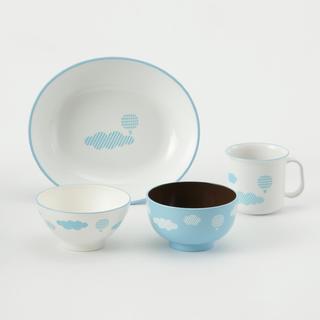 KEYUCA☆ くもキッズ食器セット ブルー (プレート/茶碗)