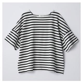しまむら - コットンフロムUSAボーダーTシャツ♡ブラックLL