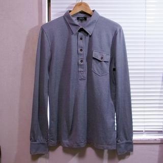 アーペーセー(A.P.C)のAPC フランス製 長袖ポロシャツ インディゴブルー グレー系 1 M(ポロシャツ)