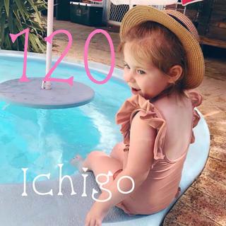 120 女の子 フリルワンピース 水着 キッズ コーラル オレンジ ピンク(水着)