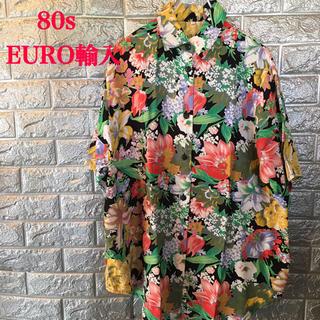 【美品】80s Euro 柄シャツ 花柄 半袖シャツ Euro輸入 古着 L