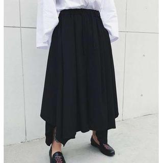 【タイムSALE】袴パンツ ワイド モード系 サルエル ブラック黒(サルエルパンツ)