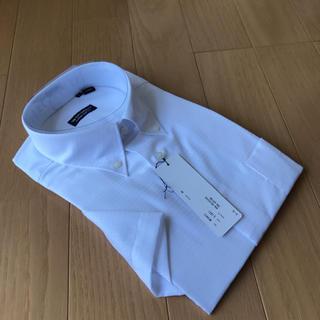スーツカンパニー(THE SUIT COMPANY)のスーツカンパニー半袖ドレスシャツL(41)ホワイト織柄ボタンダウン(シャツ/ブラウス(長袖/七分))