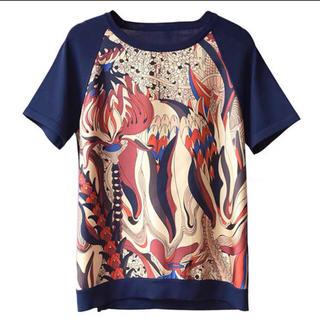 エルメス(Hermes)のスカーフ地と夏ニットの高品質マダムカットソー xL(カットソー(半袖/袖なし))
