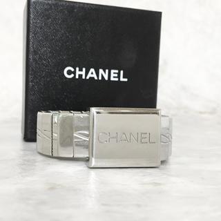 CHANEL - 正規品 シャネル ブレスレット ベルト シルバー 銀 バックル アルファベット