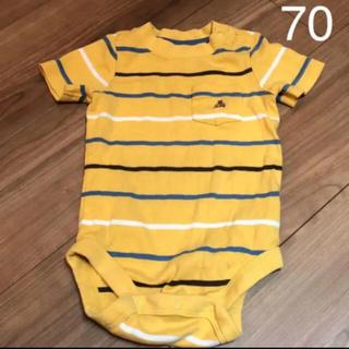 ベビーギャップ(babyGAP)のbabyGap ボーダーロンパース 半袖 イエロー 70(ロンパース)