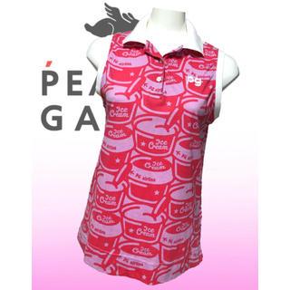 パーリーゲイツ(PEARLY GATES)の美品♡パーリーゲイツ アイス柄  総柄  ノースリーブ  ポロシャツ レディース(ウエア)
