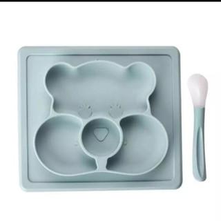 【新品】くまさん 離乳食 シリコンプレート ブルー スプーン付き(離乳食器セット)