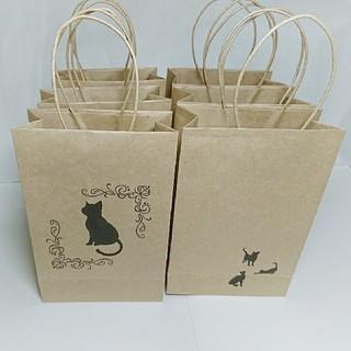 クラフト紙袋 手提げ袋 プチギフト ラッピング袋 包装 黒猫くろねこ 角底 6枚(ラッピング/包装)