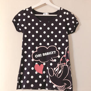 ディズニー(Disney)のドットが可愛いミニーちゃんのTシャツ Aライン半袖Tシャツ(Tシャツ(半袖/袖なし))
