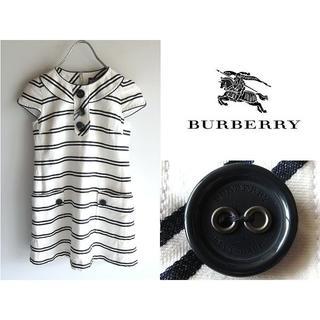 バーバリーブルーレーベル(BURBERRY BLUE LABEL)のバーバリーブルーレーベル コットンリネン フレンチスリーブ ボーダーワンピース(ミニワンピース)