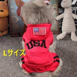 レッド Lサイズ USA ジャージ風 犬 猫 ペット用 服(犬)