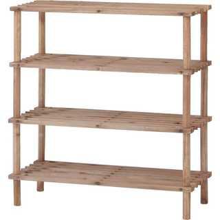 シューズラック 4段 幅63cm ブラウン 木製(棚/ラック/タンス)