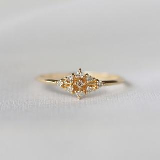 K10 ダイヤモンド 9粒ひし形リング(リング(指輪))