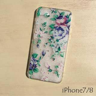 花柄 iPhone ケース iPhoneカバー 透明 クリア ミックス 7/8(iPhoneケース)