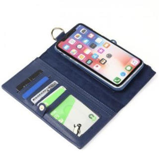 手帳型iPhoneケース7plus/8plus 財布一体型 分離可能 ネイビー(iPhoneケース)
