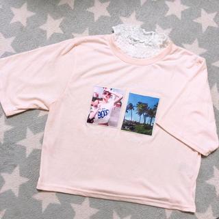 シマムラ(しまむら)のTシャツ トップス 襟レース付き(Tシャツ(半袖/袖なし))