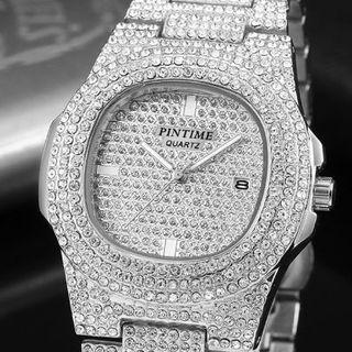 インビクタ(INVICTA)のラインストーン腕時計★AAAジルコニア★メンズ★シルバー★Invicta(腕時計(アナログ))