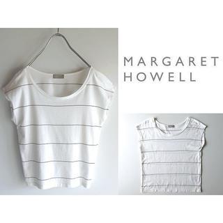 マーガレットハウエル(MARGARET HOWELL)のマーガレットハウエル 15SS ノースリーブ ボーダーカットソー 2 日本製(Tシャツ(半袖/袖なし))