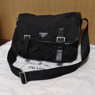 正規店購入 PRADA 斜めがけ ダブルポケット ナイロンレザーショルダーバッグ
