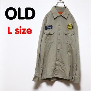 Santa Monica - OLD USED 古着 ワークシャツ ミリタリー 長袖 ワッペン ベージュ