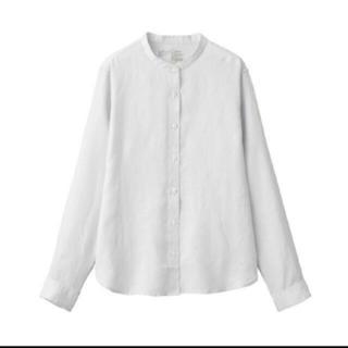 MUJI (無印良品) - 無印良品オーガニックリネン洗いざらしスタンドカラーシャツ 婦人L・シルバーグレー