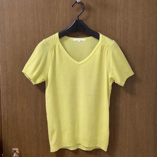 アナイ(ANAYI)のアナイ◆サイズ38 VネックコットンニットTシャツ半袖イエロー系(カットソー(半袖/袖なし))